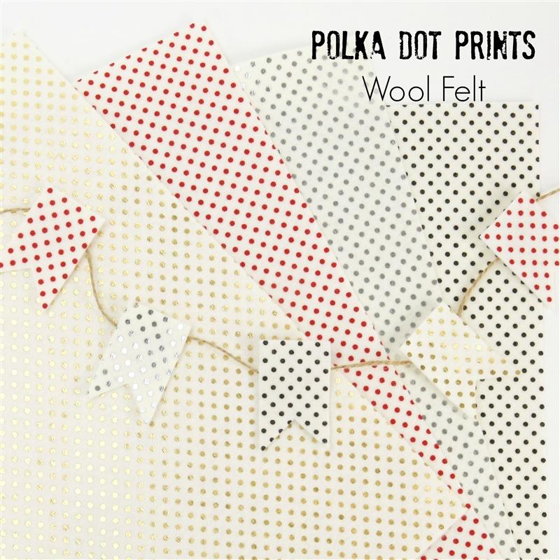 Printed polka dot wool felt for Polka dot felt fabric