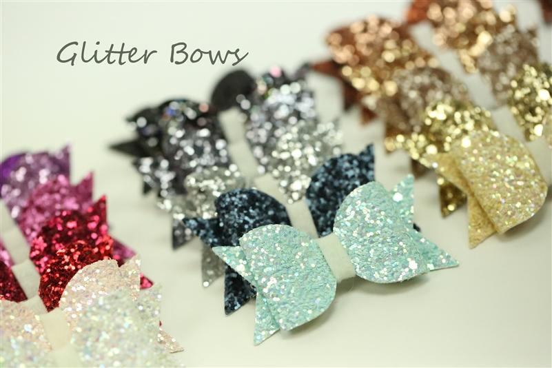 Chunky glitter bows glitter felt hair and craft bows for Chunky glitter for crafts